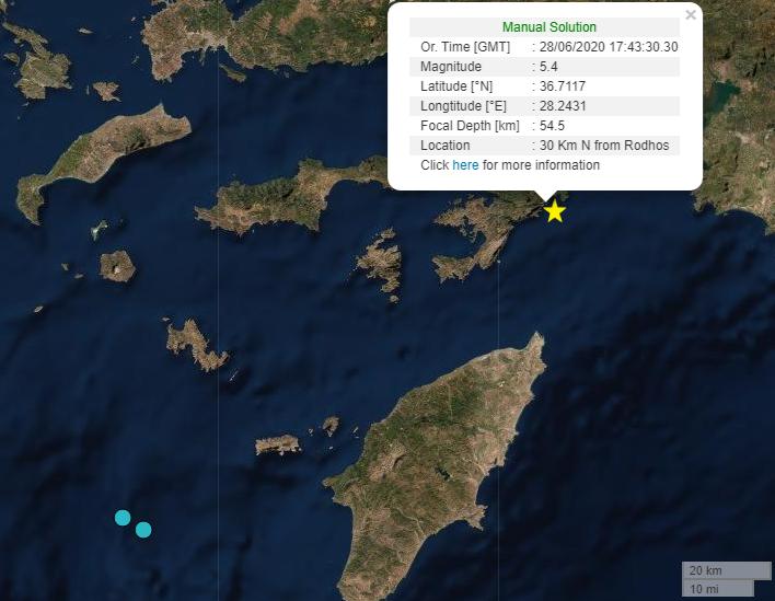 , Ισχυρός σεισμός 5,4 ρίχτερ στα ανοιχτά της Ρόδου