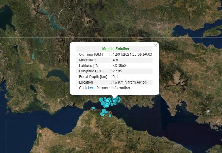 , Διπλός σεισμός 4,8 και 4,3 Ρίχτερ στη Ναύπακτο