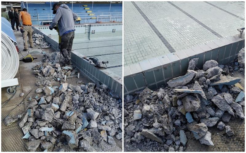 , Καλαμάτα: Ξηλώθηκαν οι… ιστορικοί τσιμεντένιοι βατήρες του κολυμβητηρίου
