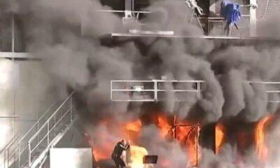 , Τυλίχτηκε στις φλόγες το γήπεδο της Ανδόρας (βίντεο)