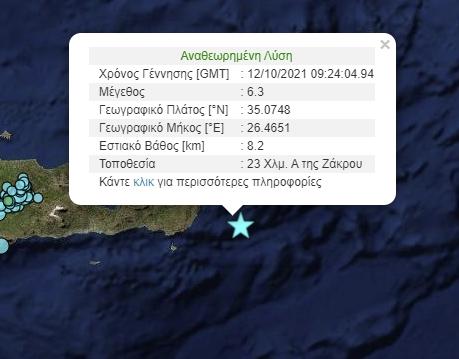 , Ισχυρός σεισμός 6,3 Ρίχτερ ανοιχτά της Κρήτης